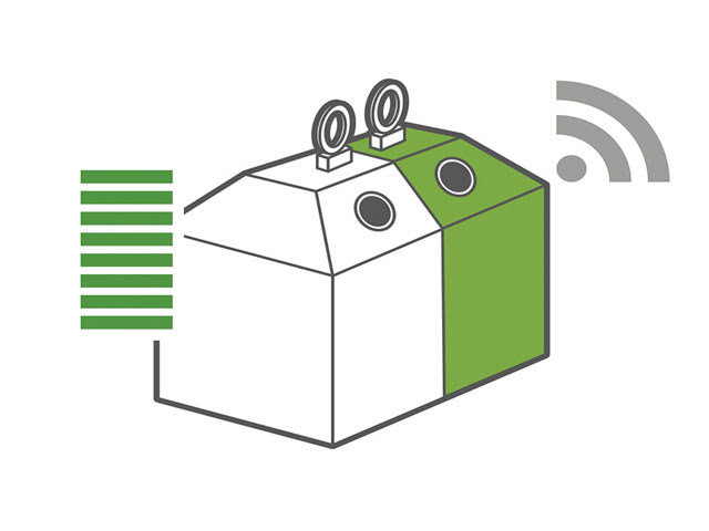 Bunt- und Weißglascontainer mit WIFI-Zeichen
