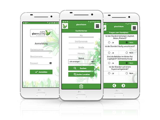 Bilder der glassfuture App auf drei Handy Displays