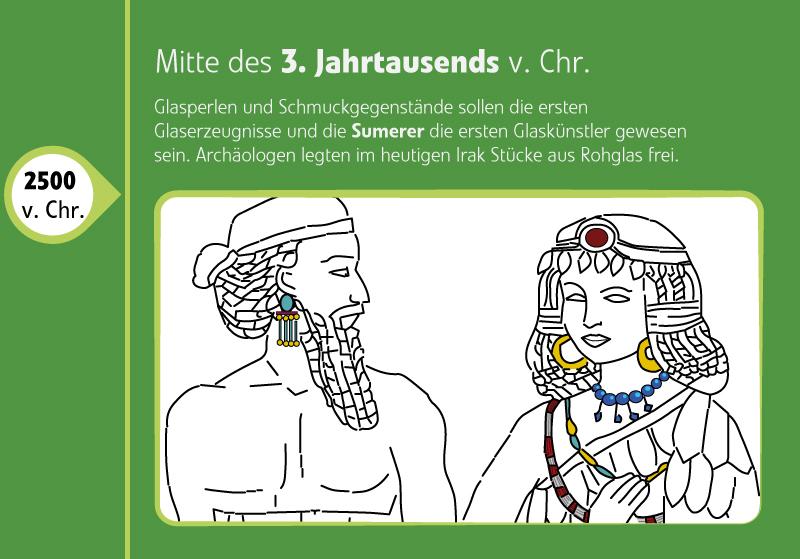 2500 v. Chr. Die Sumerer waren die ersten Glaskünstler und erzeugten Glasperlen und Schmuck aus Glas