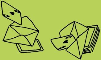 Die Kartenvorhersage: Herz Ass Karte wandert in und aus dem Kuvert