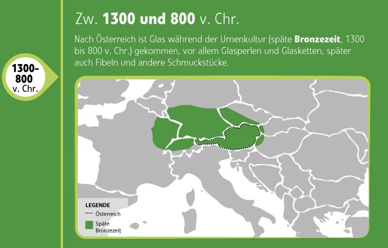 Landkarte Glas in Europa späte Bronzezeit
