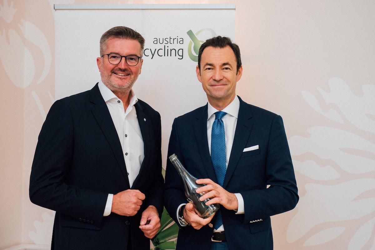 Harald Hauke, Geschäftsführer Austria Glas Recycling GmbH und Michael Wiener, CEO Duales System Holding GmbH & Co. KG beim 14. Austria Glas ReCIRCLE am 14. Oktober 2019