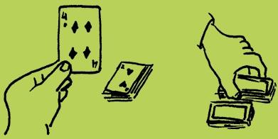 gezeichnete Hände heben Spielkarten auf